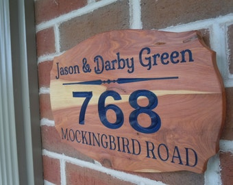 Address Sign For House Home address Signs House Signs With Numbers Custom Outdoor Name Sign Personalized Wooden 13 1/2 x 9 Red Cedar ST9