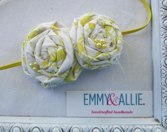 Double Rolled Fabric Flower Headband -Vintage Lemon Yellow - infant/toddler/girl/adult