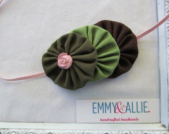 Camouflage/Camo/Pink/Green/Brown Fabric Flower Yo-Yo Headband