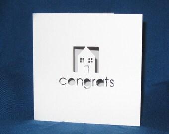 Congrats Housewarming Card, New Home Card, Hand Cut Card