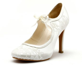 Custom Made Lace Wedding Shoes. Satin Lace Custom Made Wedding Shoes. Wedding Ankle Bootie Wedding Shoes.