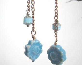 Cornflower - earrings dangle blue porcelain ceramic flowers