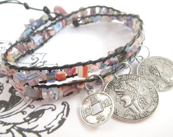 Mille Fiori - Bead Bracelet with pendant