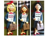 Personalized Female Attorney Gift, Lawyer, Legal Assistant, Law Graduate Ornament/Magnet/Cake Topper/Stand-Customize Hair Color & Skin Tone