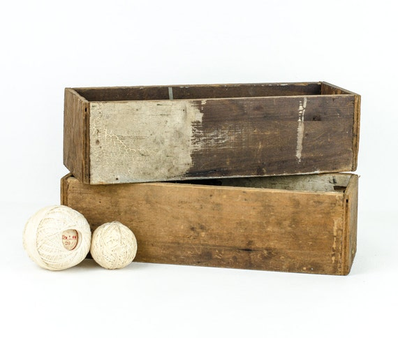 Pair of rustic wood boxes small primitive by tawneyvintage - Small rustic wooden boxes ...