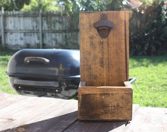 Beer Bottle Opener and Cap Catcher RUSTIC