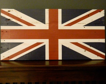 British Flag Wall Hanging Art Piece~ Union Jack~ Reclaimed Wood~ 12 x 24