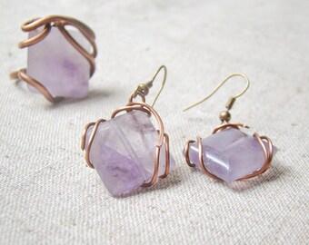 Amethyst jewelry set, amethyst ring, amethyst earrings, amethyst jewelry, purple