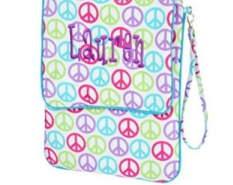 Monogrammed Padded Peace Sign Tablet, Nook, Kindle, or Ipad  Case