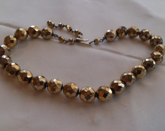 Vintage heavy gold faceted bead necklace