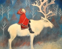 Fine art greeting card, reindeer design, ideal for Christmas and Winter Solstice.