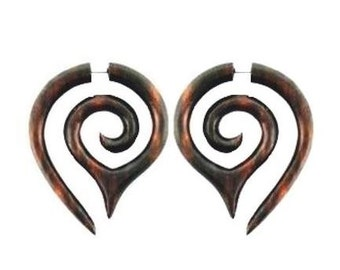 Peace Maze - Sono Wood (Brn)..Fake Gauges, Handmade, Wood Earrings, Cheaters, Organic, Plugs, Split, Tribal Style