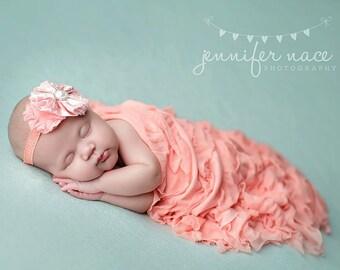 Peach Ruffle Layering Mini Blanket for Newborn Photography
