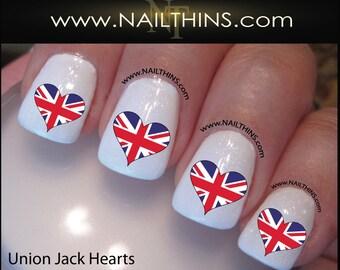 British Nail Decal Union Jack Flag Heart Nail Art NAILTHINS
