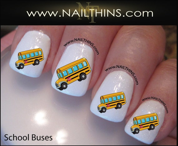 School bus nail decal bus driver nail art design nailthins like this item prinsesfo Gallery