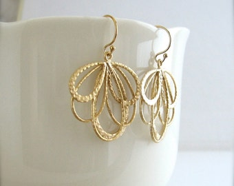 Matte Gold Hoop Earrings, Matte Gold Layered Hoop Earrings, Lightweight Gold Earrings - 14k Gold Filled Ear Wires