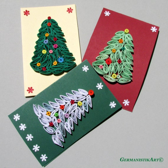 Blank christmas tree card set of 3 holiday cards by for Quilling kitchen set