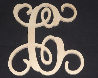 """18"""" Wooden Vine Letter Unfinished wood letters Room Decor Childrens Room"""