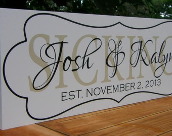 Personalized wedding gift, Personalized Family name sign, Family Established Sign, Wood sign with established date, anniversary engagement