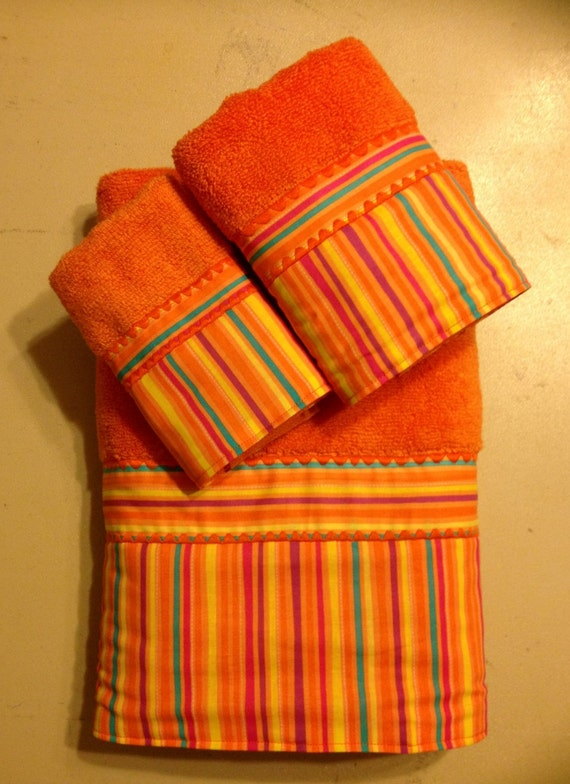 Orange And Multi Colored Striped Bath Towel Set By