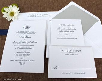 Deco Monogram Wedding Invitation SAMPLE