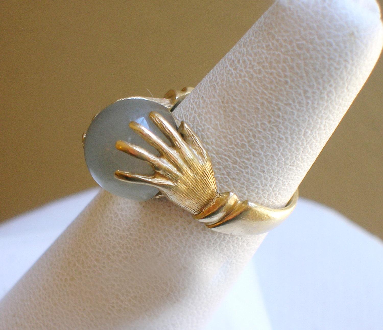 Vintage Moonstone Gypsy Fortune Teller Crystal Ball 14k Ring