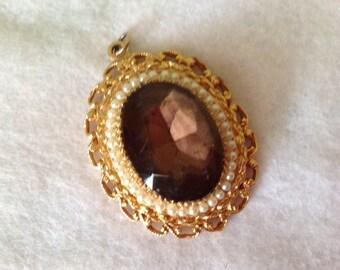 Vintage Gold Plated Gem Pendant