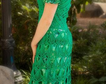 Emerald tango crochet dress, Green handmade dress, Lace cotton dress, Ready to ship