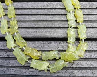 Green Serpentine 12-16mm Owl beads (ETB00284)