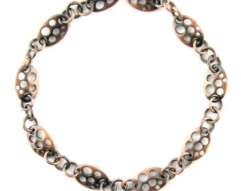 """20"""" Antique Oxidized Copper Fancy Oval Discs Soldered Link Chain Findings 104291"""