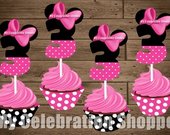 INSTANT DOWNLOAD Pink Minnie Mouse Cupcake Toppers and Wrappers, Age 3 ONLY, Birthday Decorations, My Celebration Shoppe, Minnie Mouse