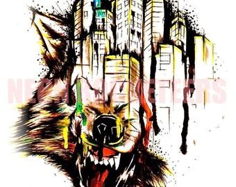 "8x10 ""Cinco De Mayo"" Wolf City Original Watercolor Canine Animal Art Print"