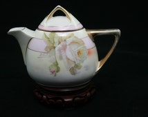 Royal Rudolstadt Prussia Mini Tea Pot with hand painted roses