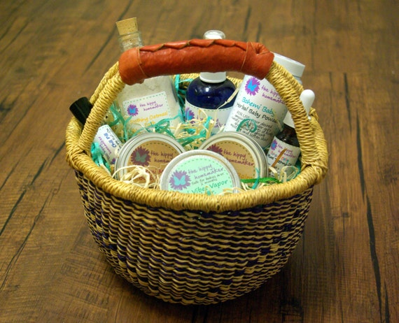Baby Shower Gifts Organic ~ Natural baby care gift basket large eco friendly shower