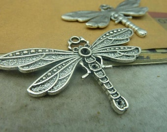 6pcs 41x72mm Antique Bronze/ Antique Silver Dragonfly Charms Pendants Connectors Jewelry Findings AC3429