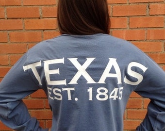 Texas spirit long sleeve t-shirt, Texas shirt, Lone Star State tee t-shirt, all 50 states, custom state shirt