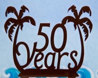 Palm trees Cake Topper - Palm Tree Birthday Cake Topper - Palm Tree anniversary cake topper - Number Palm Trees cake topper - beach topper