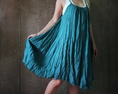 Funky Boho Braided Shirred Strap Dusty Dark Teal Green Light Cotton Tunic Sundress Beach Cover Dress - D009