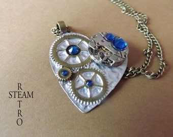 10% off sale17 The Clockheart Capri Steampunk necklace - Steampunk Jewelry by Steamretro - personalized jewelry