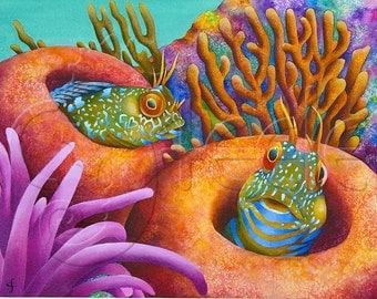 """Carolyn Steele painting tropical art print, coral reef, Caribbean coral reef, two comical blennies in sea sponges : """"Seaweed Blennies"""""""