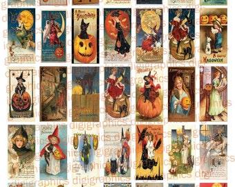 Boo! RETRO Halloween Postcards-  1X2 Domino Sized print out digital sheet.