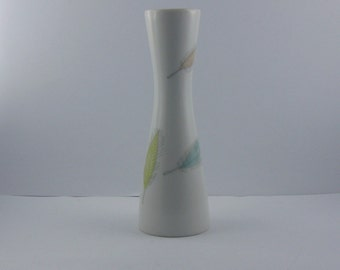 50s Rosenthal Germany. Small porcelain vase. Form 2000 Decor: Colorful leaves. Height about 13 cm. Vintage