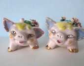 Vintage Salt & Pepper Shakers - Fancy Pigs with Rhinestones and Glitter