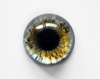 25mm handmade glass eye cabochon - grey eye - Hemispherical / HIGH DOME