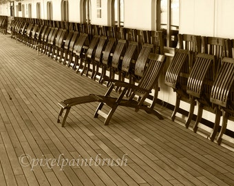 Cruise Ship Deck Chairs Print, Sepia Tone, Monochromatic, Image of Days Gone By, 8x10
