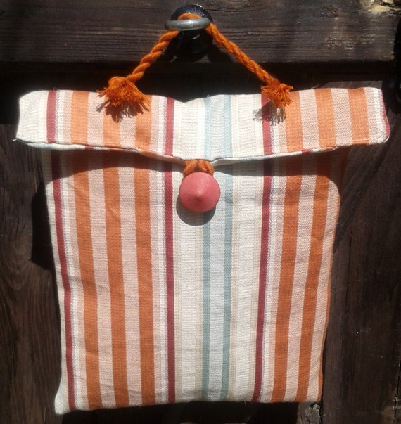 Men's Vanity Case - Handmade- Red Brick Green Stripes- Fall Ipad Case - Padded Pouch- French - Bamboo Yarn Cord - Wood Spinning Wheel Button