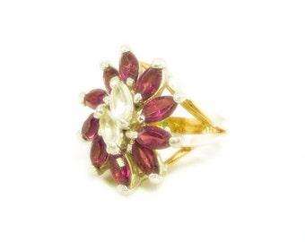 Elegant 18k Gold Plated Bright Purple Amethyst and Clear Rhinestone Flower Design Ring - Size 6