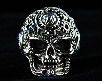 Steampunk  noble skull ring alien skull ring---925sterling ring