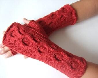 Knitted of pure MERINO wool. Handmade RED fingerless gloves, wrist warmers, fingerless mittens.