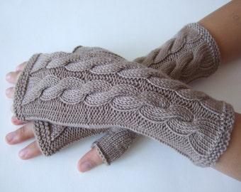 Knitted of 100 % MERINO wool. Light brown fingerless gloves, wrist warmers, fingerless mittens. Handmade.